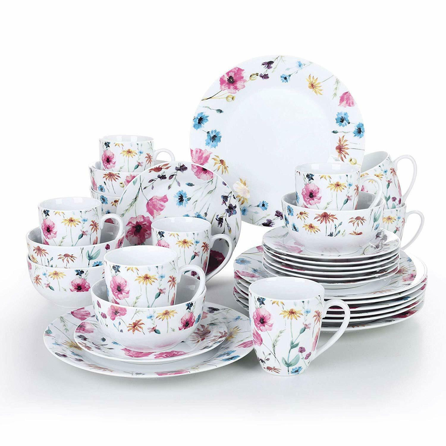 32 Piece Porcelain Dinner Set Plates Bowl Mugs Crockery Dining Set Floral Print