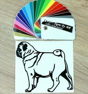 Pug-Dog-Wall-Door-Car-Sticker-Vinyl-Decal-Adhesive-Window-Bumper-Tailgate-Laptop