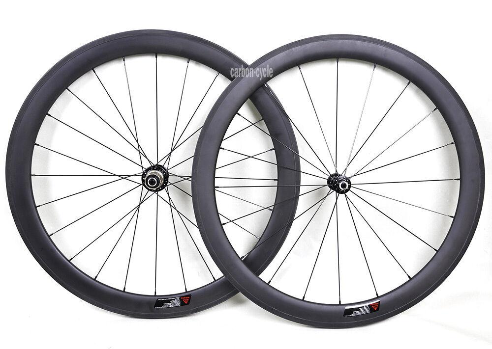 50mm Carbon Wheel Front Rear Clincher Road Bicycle 700C 3k Matt 23mm Rim sport