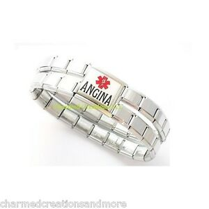 Image Is Loading 9mm Italian Charm Shiny Medical Alert Bracelet Angina