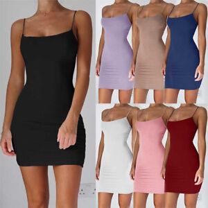 Women-Spaghetti-Strap-Stretchy-Package-Hip-Bodycon-Mini-Dress-Short-Club-Dress