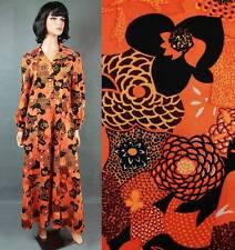 Vintage Flower Child Dress L 70s Orange Black Floral Long Hippie Disco Costume