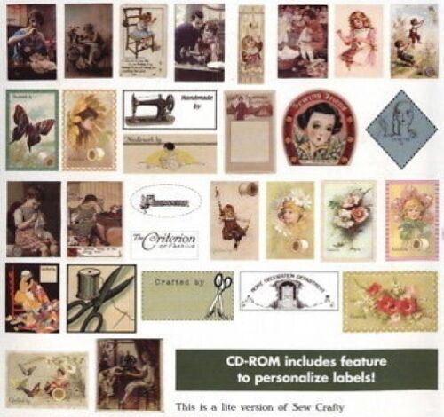 - Cd 93 Imprimible Etiquetas Sew Crafty papel o tejido