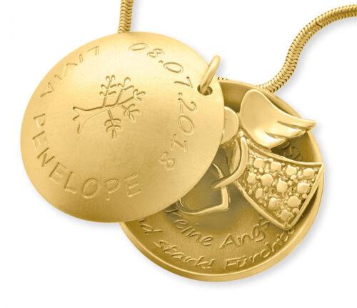 Kette mit Namen vergoldet Medaillon mit Gravur Namenskette gold Geschenk Taufe