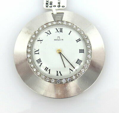 Antique Self-Conscious Vintage Milus 1.0ct Diamond & 18k White Gold Slim Pocket Watch Be Friendly In Use Jewelry & Watches