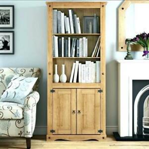 Seconique 300-306-005 Corona 2 Door Bookcase - Distressed Waxed Pine