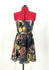 Forever-New-Black-Floral-Sleeveless-Short-Silk-Fit-Flare-Party-Dress-Size-12-VGC