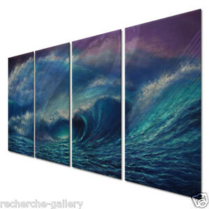 Image is loading Metal-Wall-Art-Decor-Set-Ocean-Waves-Sculpture-