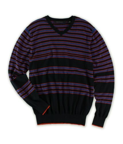 Sean John Mens Striped V Neck Pullover Knit Sweater