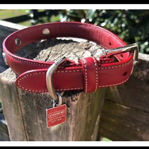 5f3348a9 Details about COACH RED LEATHER STUDDED COACH GROMMETS WITH SQUARE CHARM  DOG COLLAR S SMALL S