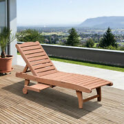Outsunny Adjustable Wooden Chaise Lounge w/ Pullout Tray 2 Wheels