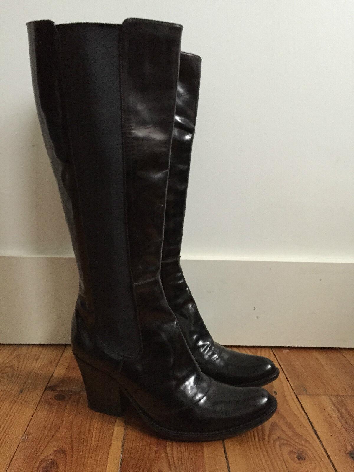 SINELA LADIES BLACK LEATHER KNEE HIGH BOOTS UK4