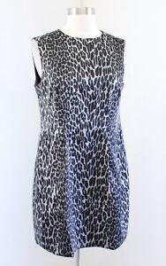 Nanette Lepore Gray Black Sleeveless Mini Silk Sheath Dress Size 6 Cheetah