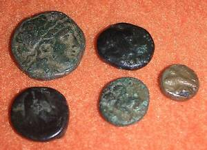 5 Antike Griechische Münzen Lot Konvolut Germanen Indogermanen