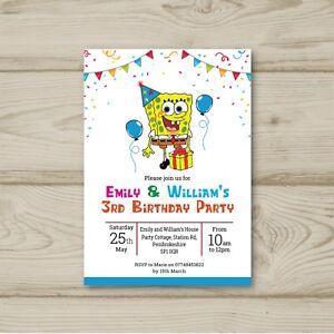 Detalles De 10 Invitaciones Personalizadas Para Niños Fiesta De Cumpleaños Bob Esponja Ver Título Original
