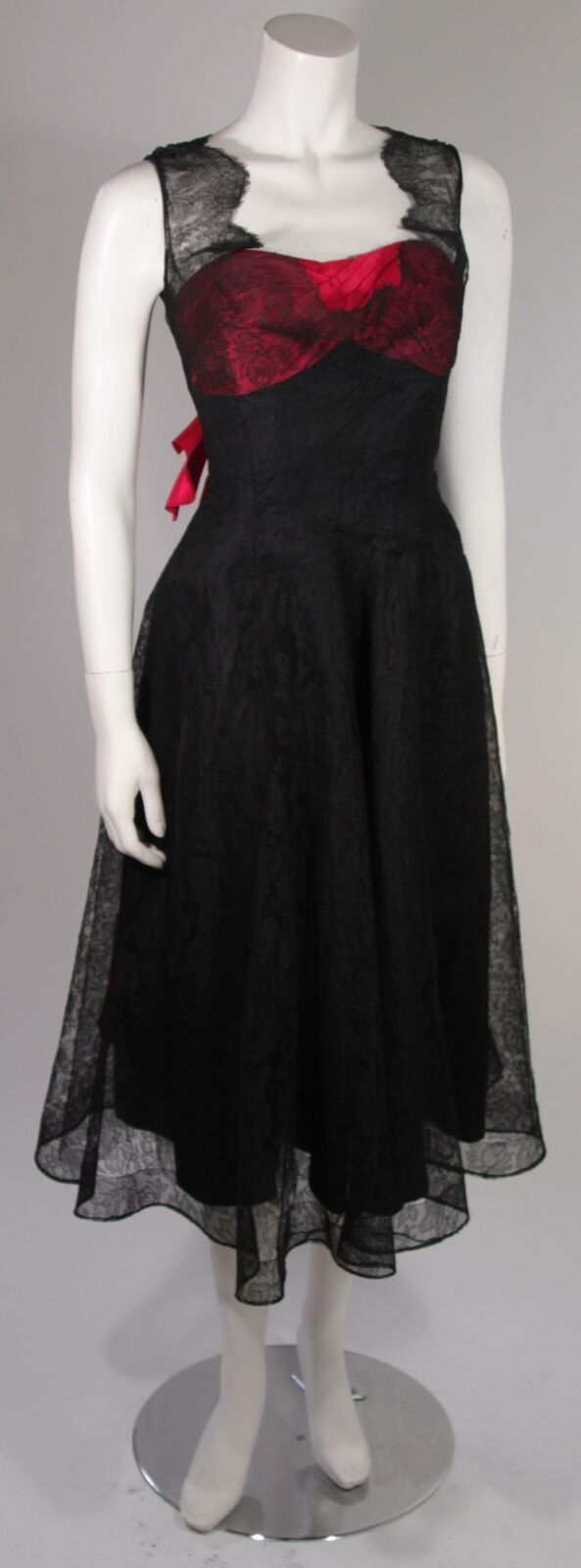 CEIL CHAPMAN Black Lace Cocktail Dress with Large… - image 3