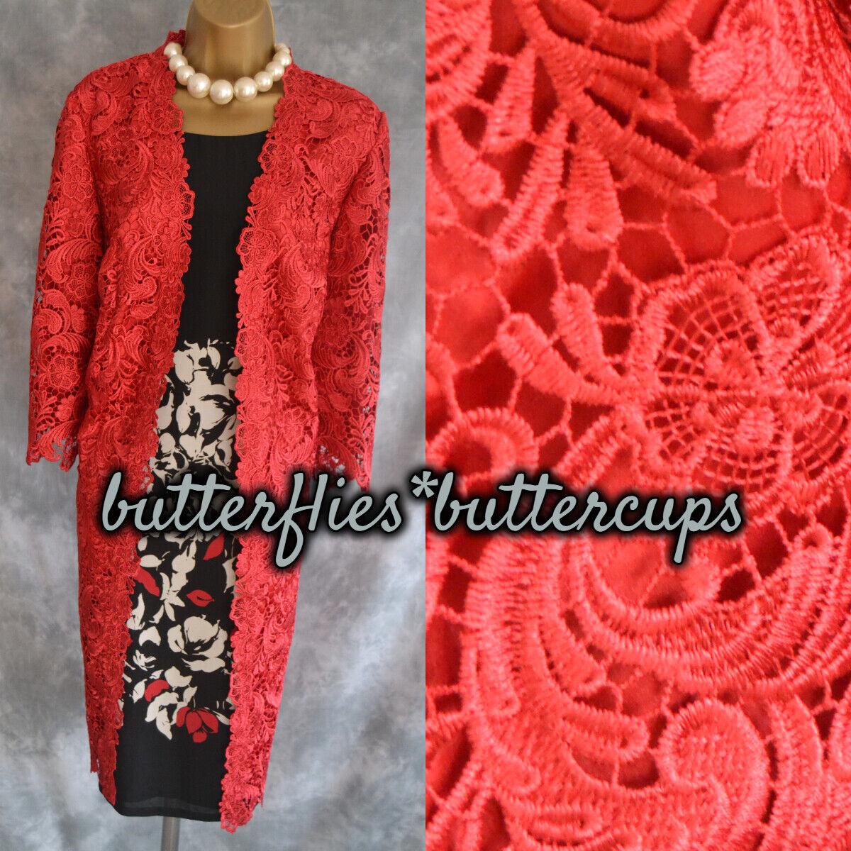 ~ JACQUES VERT ~ Red Opulent Lace Dress Coat Jacket Size 10 New Mother of Bride