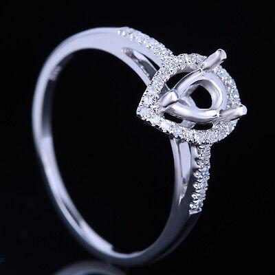 4X6mm PEAR 14K WHITE GOLD DIAMONDS SEMI MOUNT ENGAGEMENT WEDDING RING SETTING