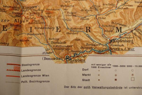 2 Schulhandkarte Niederösterreich/oberösterreich (1:400.000; Vermutlich 1960-er)