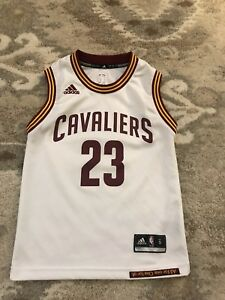 best sneakers f392b e306a Details about Youth Size Small Lebron James Cleveland Cavaliers Cavs Home  White Adidas Jersey