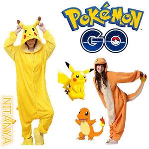 Enfant-Pikachu-Pyjama-Pokemon-Charmander-Adulte-Animal-Costume-Vetements-de-nuit