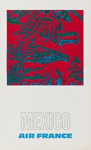 Affiche Originale - Raymond Pages - Air France - Mexico - Tourisme - 1971