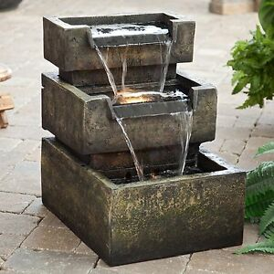 Details About Indoor Outdoor Stone Resin 3 Tier LED Lighted Water Fountain Home Decor Garden