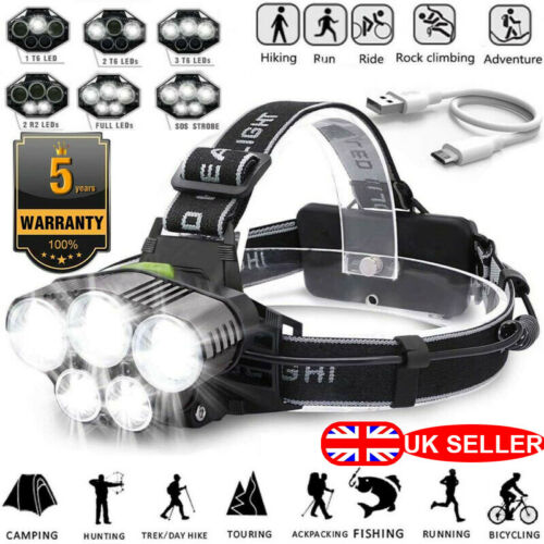 200000LM T6 LED Headlamp Headlight Torch Rechargeable Flashlight 18650 Camping *