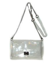 Brand New Clear jelly Plastic Transparent See-thru Handbag Purse silver chain
