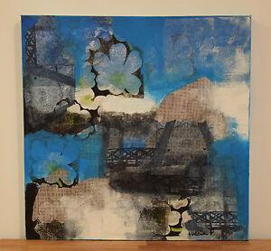 Abstrakt Original Collage Acrylbild Auf Leinwand Handsigniert