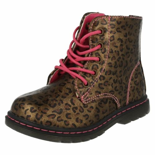 Toddler Infant Girls Spot On Funky Printed Lace Up Zip Chunky Ankle Boots H4R109