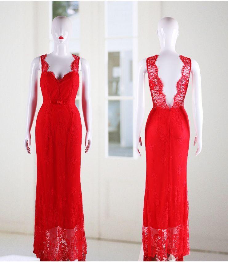 Pizzo lungo abito da ballo vestito vestito vestito party sposa senza maniche BC449 cff2f3