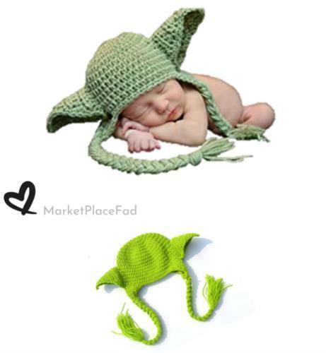 Star Wars Hat Yoda Newborn 0-3 Month Baby Knit Crochet Photography Costume Prop