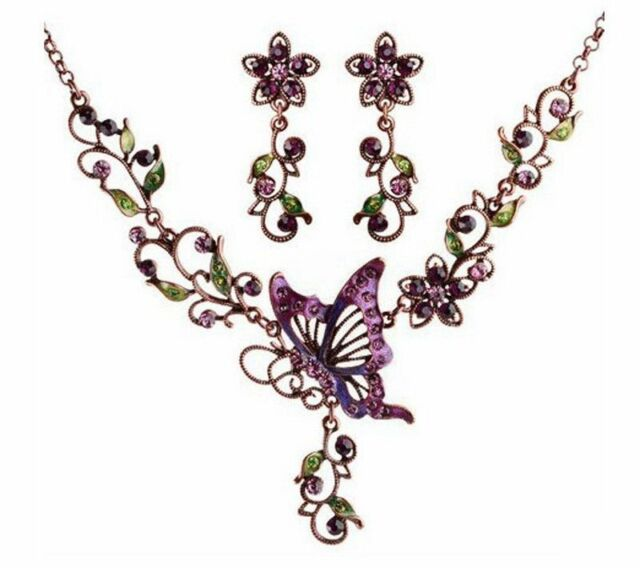 Vintage Womens Butterfly Crystal Purple Chain Pendant Statement Bib Necklace Set