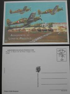 CARTOLINA-AEROPORTO-LONATE-POZZOLO-1944-MACCHI-205-N-1207