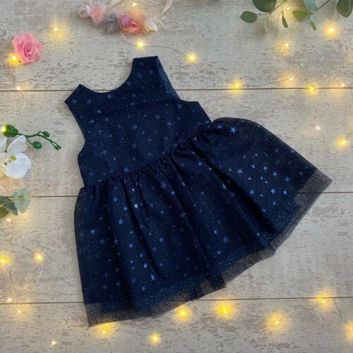 Brand New Stunning Mothercare Girls Occasion Dress Navy Stars Party Age 3-4