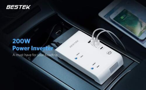 BESTEK 200W Car Power Inverter DC 12V to AC 110V Converter with 7.8A 4 USB Car
