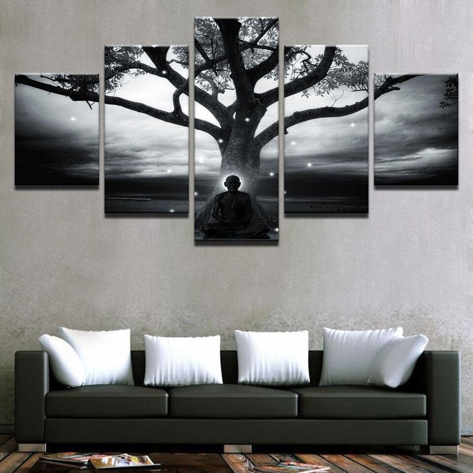 Lonely Tree Buddhist Monk Meditation Starry Night 5 Panel Canvas Print Wall Art