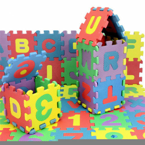 Kids Educational Soft Foam Mats 36 x Alphabet Numerals Play Mat Toddler Baby Toy