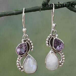 Women Eardrop Amethyst Earring Amethyst Woman Silver Earring Handmade 925 Silver Woman Amethyst Earring,Handmade Amethyst Women Earring