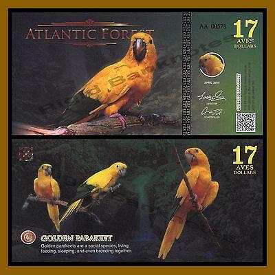 ATLANTIC FOREST 17 AVES DOLLARS BIRDS GOLDEN PARAKEET 2016 UNC