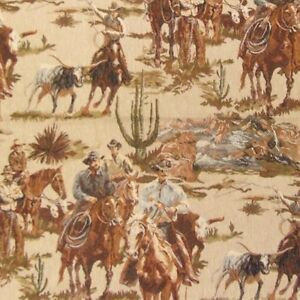 Cowboy Roundup Longhorn Cattle Upholstery Fabric Western Lodge