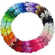 40Pcs 3'' Grosgrain Ribbon Pinwheel Boutique Hair Bows Clips For Baby Girls Teen