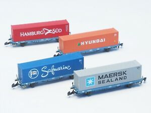 FR-S-MidCargo-Swedish-RR-4-Car-container-set-class-Lgns-Z-scale