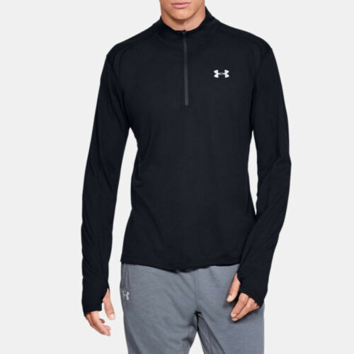 Under Armour Mens Streaker 2.0 Half Zip Top Black Sports Gym Running Breathable