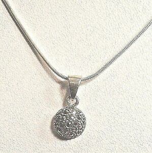 Sterling-Silver-Tiny-Round-Marcasite-Pendant-Necklace-16-034-to-18-034-Chain