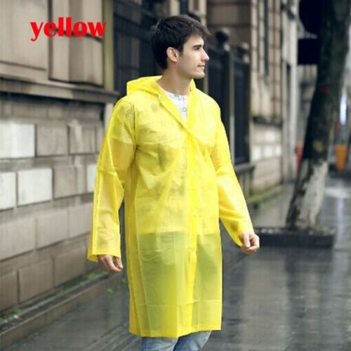 Adult Kids Raincoat Unisex Transparent Waterproof Plastic Reusable Rain UK
