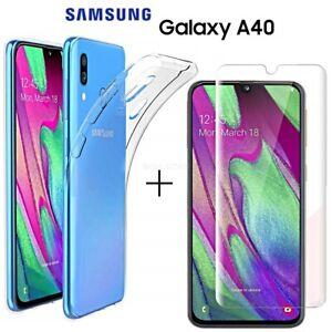 COVER-per-Samsung-Galaxy-A40-CUSTODIA-TPU-Clear-PELLICOLA-VETRO-TEMPERATO-9H