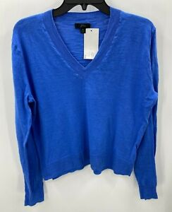 J Crew Womens Size S Small Down V Neck Sweater NWT Button Down Blue