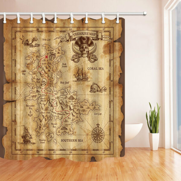 Retro Treasure Map Fabric Shower Curtain Liner Bathroom Decor Doormat Set 71inch Hover To Zoom